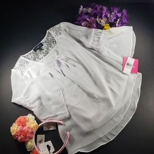 4/$25 Amy Byer White Lace Blouse, New